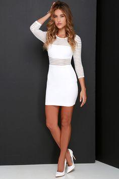 Perfect Mesh Ivory Bodycon Dress at Lulus.com!