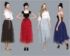 SIMS4 marigold: Ribbon Ballerina Long Skirt_리본 발레리나 롱 스커트_여자 의상