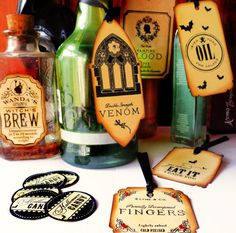 Spiced up decor with simple printables. halloween-party-labels.jpeg (570×563)