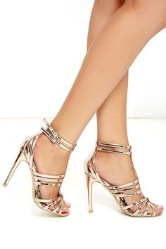 Pretty Rose Gold Heels - Caged Heels - Metallic Heels - $40.00 #promshoesstrappy #goldanklestrapsheels
