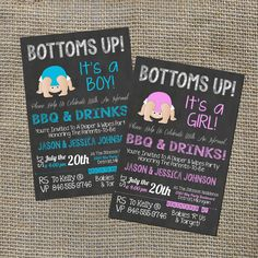 Bottoms Up Baby Shower Q Babyque Bbq Invitation Chalkboard Rustic Beer Burgers Drinks Informal Diaper Party Invite Diy 0017