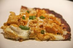buffalo chicken pizza with cauliflower crust . gluten free & healthy & pizza! need i say more?