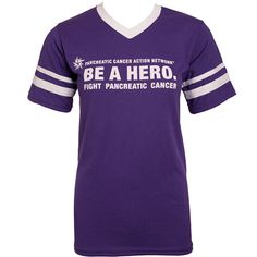 I want...Raise awareness with this purple Augusta Sportswear® t-shirt with white striped sleeves and rib-knit V-neck. 50% polyester/50% cotton jersey knit. Impinted with the logo and BE A HERO. Fight pancreatic cancer on the front. Want this to honor my mom. Love and miss you!!!
