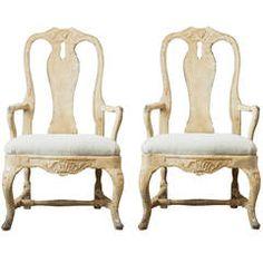 Pair of 18th Century Swedish Rococo Armchairs 1st Dibs