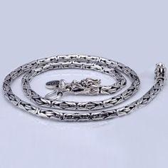 mm Men's Sterling Silver Dragon Head Byzantine Chain - Men's silver jewelry - Braid Silver Chain For Men, Mens Silver Jewelry, Mens Silver Necklace, Men's Jewelry, Silver Chains, Silver Earrings, Jewelery, Fashion Jewelry, Jewelry Making