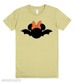 Minnie Mouse Bat Halloween t-shirt. Available in Men's, women's, children's and infant's sizes in a variety of styles and colors! The perfect shirt to wear to Mickey's Not So Scary Halloween Party!