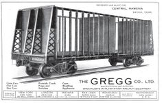 Material rodante - vagón de caña marca Gregg. Esta compañía tuvo oficinas en Puerto Rico.