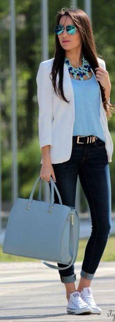 statement necklace, white blazer, black pants, converse