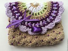 Купить Кошелек-косметичка для девочки вязаная Сиреневая - фиолетовый, абстрактный, сумочка ручной работы