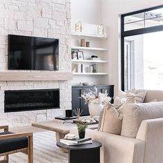 Fireplace Feature Wall, Linear Fireplace, White Fireplace, Modern Fireplace, Living Room With Fireplace, Fireplace Design, New Living Room, Shiplap Fireplace, Built In Around Fireplace