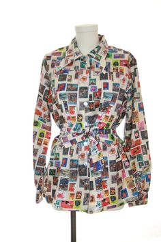 Stamp Collector Pool Shirt Blouse  Size Small by by vintage303