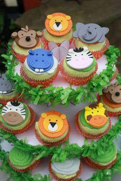 Items similar to jungle animal fondant cupcake toppers safari cupcake toppers, zoo cupcake toppers, noah& ark cupcake toppers, wild animal cupcake toppers on etsy - Fondant Jungle Animals Cupcake Toppers by Clementinescupcakes - Fondant Cupcake Toppers, Deco Cupcake, Vintage Cupcake, Rose Cupcake, Cupcake Cakes, Safari Cupcakes, Zoo Animal Cupcakes, Animal Cakes For Kids, Pink Cupcakes