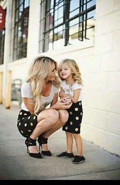Mother, daughter, mother&daughter, white dots, blonde, style, matching