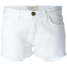 Current/Elliott Frayed Denim Shorts ($168) ❤ liked on Polyvore featuring shorts, white, current elliott shorts, denim shorts, jean shorts, white frayed shorts and denim short shorts