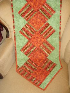 Quilted Table Runner Fall  Autumn Orange Green by DesignsbyJuliAnn, $29.95