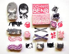 Eraser stamps by Stasia Burrington