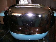 Vintage 1961 Shiny Chrome and Aqua Toaster by VintageRosesCottage, $39.99