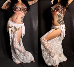 Items similar to Goddess Heirlooms belly dance Harem Pants, white lace cut out leg. exotic Turkish floorwork, tribal fusion, sexy Gypsy dance costume on Etsy Belly Dancer Costumes, Belly Dancers, Dance Costumes, Danza Tribal, Tribal Belly Dance, Tribal Fusion, Dance Pants, Harem Pants, Gypsy Costume
