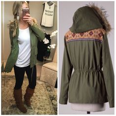 Army Green Utility Jacket With Fur Hood & Aztec