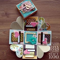 LOVE LOVE LOVE the hearts in between the panels!!!!! Creative Birthday Cards, Diy Birthday, Diy Arts And Crafts, Diy Craft Projects, Diy Gifts, Handmade Gifts, Exploding Gift Box, Scrapbook Box, Envelopes