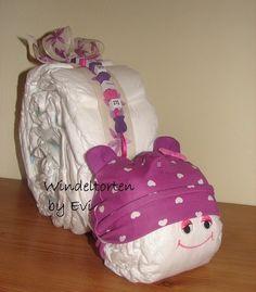 personalisierte Windelschnecke 'Purple Hearts' - ein Designerstück von Windeltorten-by-Evi bei DaWanda