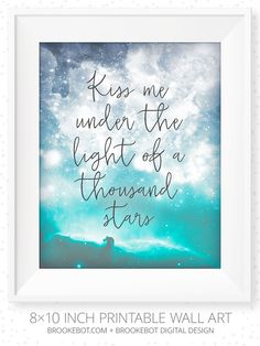 """Ed Sheeran - Thinking Out Loud: Quote from love song w/ lyrics """"Take me into your loving arms, Kiss me under the light of a thousand stars, Place your head on my beating heart..."""" Printable wall art 8×10 Inch or 8.5×11 Inch"""