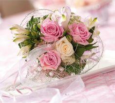 Bouquet de mariée rose tendre et crème