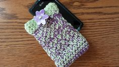 Cell Phone Case Crocheted Green Purple Handmade by softtotouch, $9.50