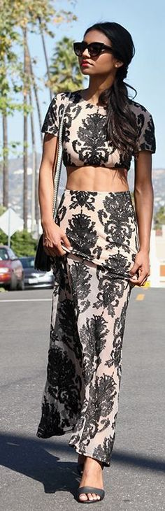 Black Embroidery Twin Set Summer Streetstyle by Tuolomee