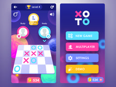 Fun game design that incorporates various shapes to create a sense of depth.,This interface is effective as it creates a intrigue through a limited colour scheme