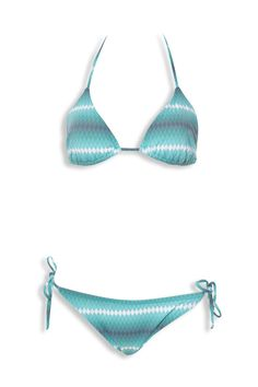 Ensemble 2 pièces de la marque VITESS - haut à triangles coulissant à nouer autour de la nuque & dans le dos - slip de bain bikini taille basse, fermeture par lacets avec embouts métal doré sur les côtés, entièrement doublé