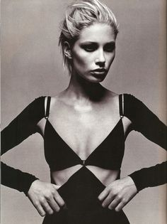 Kirsty Hume in Isaac Mizrahi shot by Michael Thompson, Harper's Bazaar, February 1997