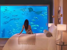 Aquarium walled bedroom