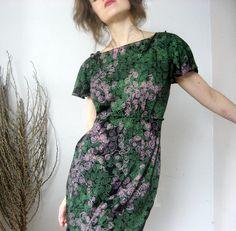 Vintage style black dress  Woodland dress with by Misskarret, $215.00