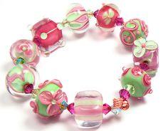 Multicolored beads - handmade lampwork glass beads by artist Kandice Seeber