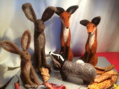 Needle felted hare, fox and badger at facebook.com/themouseholewoolery.