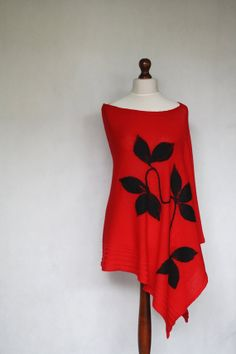 RED poncho, women poncho, knit  poncho, knit shawl,knit cape,cape coat,knit scarf,knit women,felted appliques,felted poncho,knitting machine on Etsy, $45.00