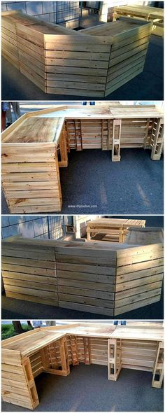 We never run short of ideas while working with pallets. Here's a fine idea to transform wood pallets in to something useful. Make wood pallet patio bar with pallets for grand look. So salvaging wood pallets can be enthralling and low priced.We are at freedom to craft any art that we require. We came up with another unique pallet wall art shelf idea.