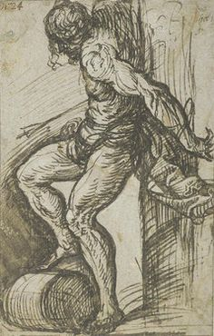 Tiziano TIZIAN (TIZIANO VECELLIO)    Study for St. Sebastian on the high altar of SS. Nazaro e Celso, Brescia    ca. 1520    Pen and brush in grey-brown ink on light blue paper