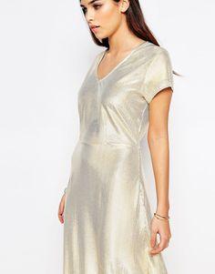 Image 3 ofLiquorish Metallic Shimmer Maxi Dress