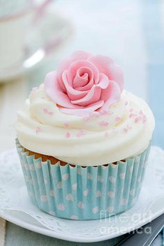Rose Cupcake Print By Ruth Black
