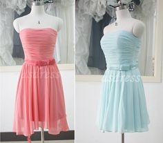 Coral chiffon Cheap Stock bridesmaid dresses Tiffany Blue Mini Brides maid Dress Watermelon Red Short A-line Sweetheart Mint Prom Dresses