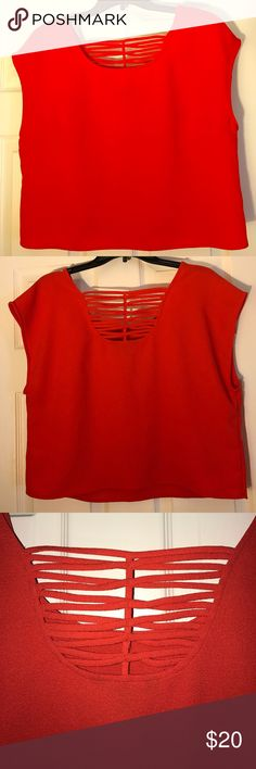 Boxy Orange Crop Top Boxy Crop Top with some criss-cross detailing Express Tops Crop Tops