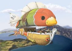 Airship pirates... kind of. by Di-To.deviantart.com on @DeviantArt