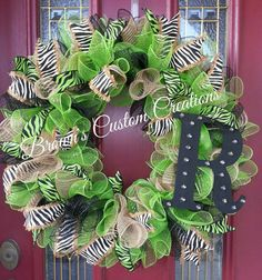 Check out this item in my Etsy shop https://www.etsy.com/listing/223197821/zebra-print-deco-mesh-wreath-green