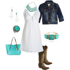 Turquoise and denim. perfect for those summer nights- could a northerner pull off the boots???