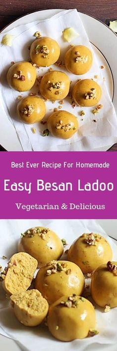 Besan ladoo recipe- make popular and delicious Indian sweet besan ladoo with roasted chickpea flour, ghee & sugar with this easy recipe. My Recipes, Real Food Recipes, Snack Recipes, Cooking Recipes, Yummy Food, Snacks, Indian Dessert Recipes, Indian Sweets, Besan Laddu Recipe
