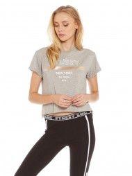 Slide Crop T-Shirt in Grey