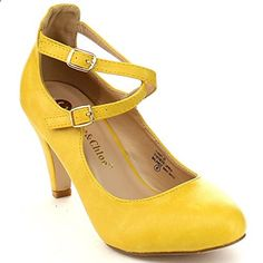 CHASE & CHLOE KIMMY-30 Women's Round #Toe Criss Cross Strap Mid #Heel Pumps, Color:MUSTARD, Size:10. Read more description on the website. Women's Heels, Pumps, Criss Cross, Ankle Strap, Mustard, Chloe, Size 10, Website, Fashion