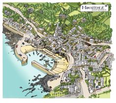 Mousehole a small seaside town in Cornwall England Fantasy map Illustrated map Pictorial maps